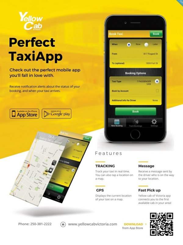 yellow cab app.  by khb web design